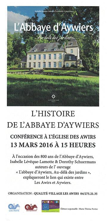 flyer conférence 13 mars 2016 église des awirs